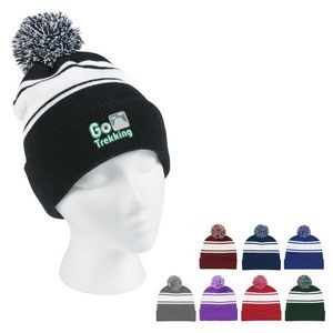 Two-Tone Knit Pom Beanie With Cuff